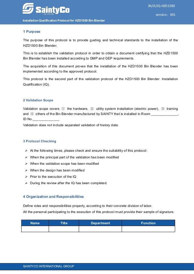 Installation Qualification Protocol for HZD1500 Bin Blender JN/JS/IQ-HZD1500 version:V01 SAINTYCO INTERNATIONAL GROUP 1 Pu...