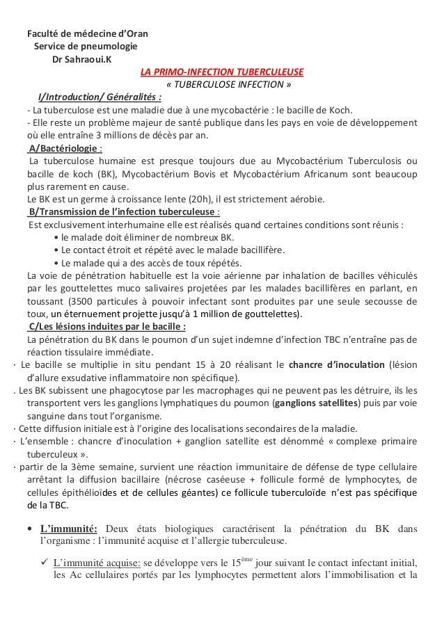 Faculté de médecine d'Oran Service de pneumologie Dr Sahraoui.K LA PRIMO-INFECTION TUBERCULEUSE « TUBERCULOSE INFECTION » ...