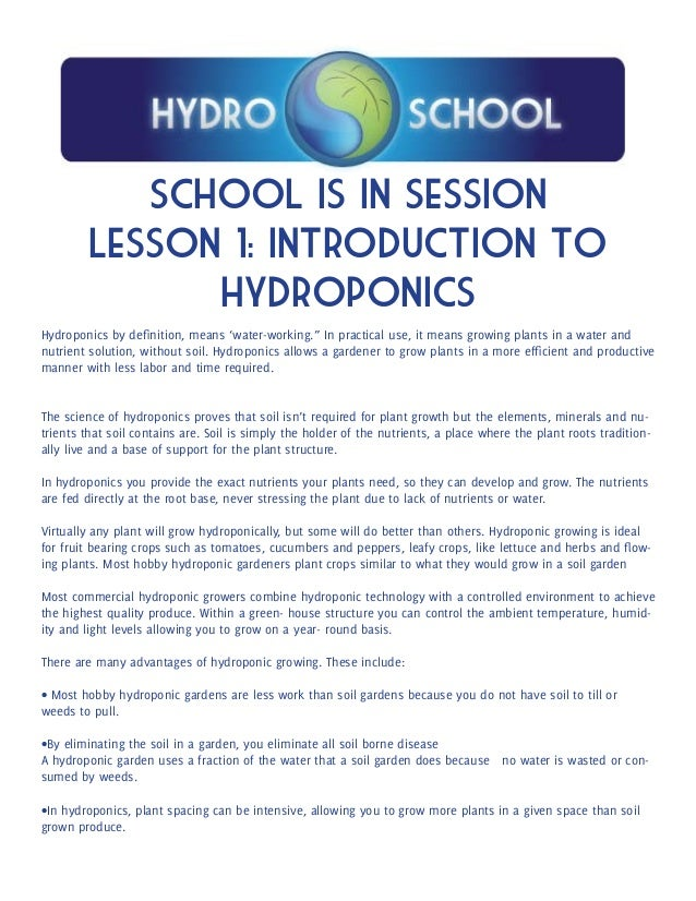 Introduction To Water Gardening: Hydroponics School Lesson Plan 1