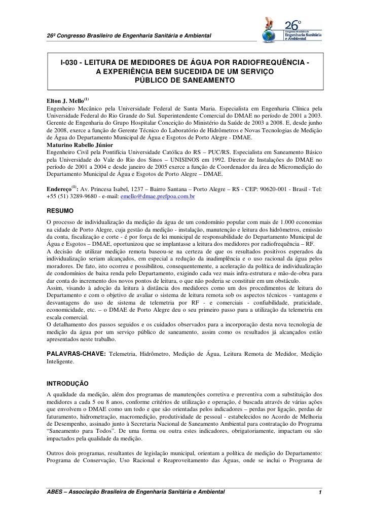 26º Congresso Brasileiro de Engenharia Sanitária e Ambiental     I-030 - LEITURA DE MEDIDORES DE ÁGUA POR RADIOFREQUÊNCIA ...