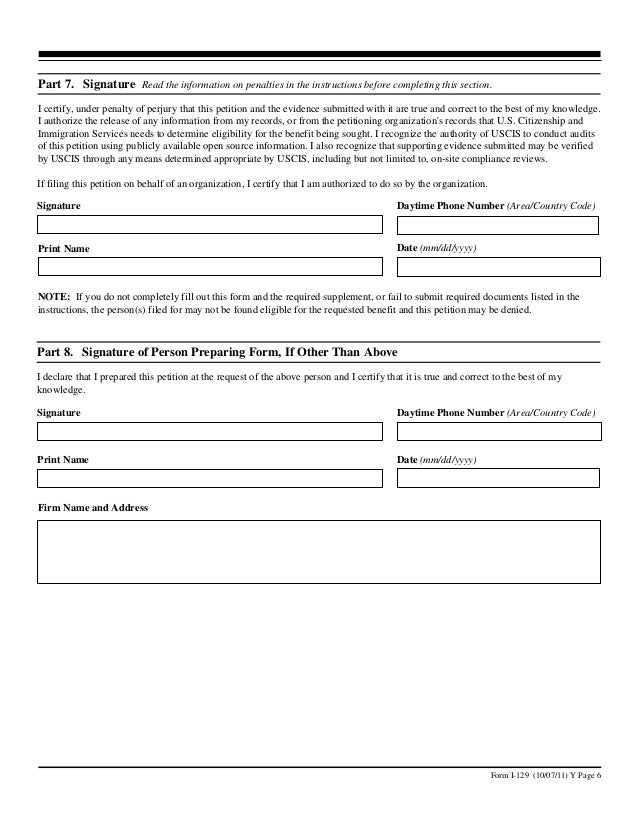 H-1B Visa Form I-129