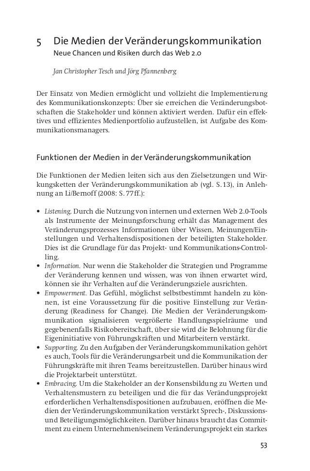 53 5 Die Medien der Veränderungskommunikation  Neue Chancen und Risiken durch das Web 2.0  Jan Christopher Tesch und Jö...