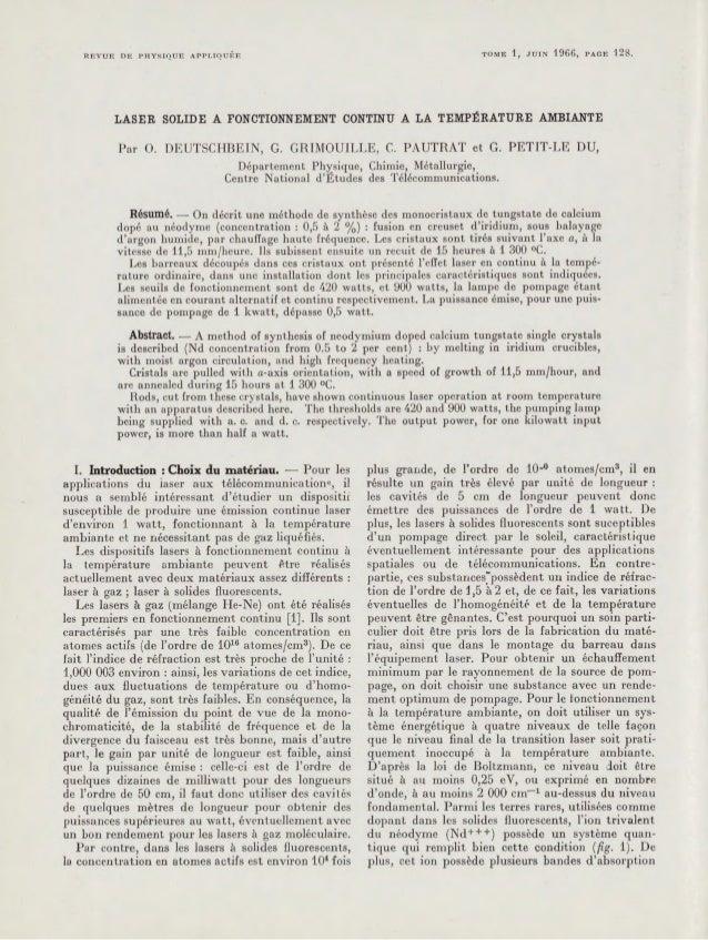 REVUE DE PHYSIQUE APPLIQUE'E  TOME 1, JUIN  1966,  PAGE  128.  LASER SOLIDE A FONCTIONNEMENT CONTINU A LA TEMPftATURE AMBI...