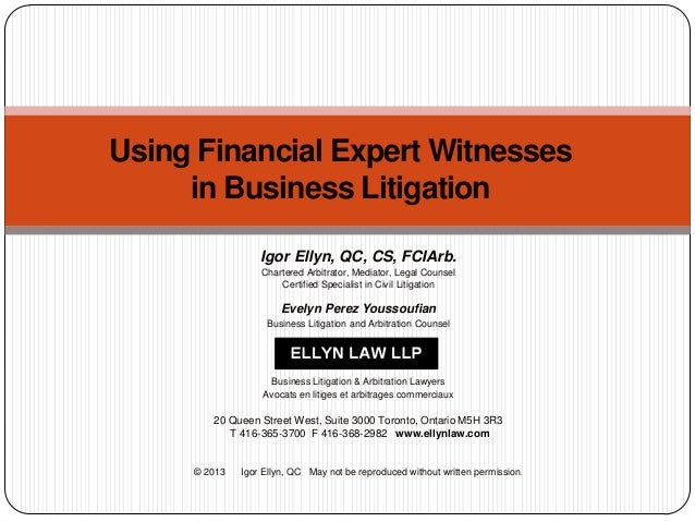 Using Financial Expert Witnesses in Business Litigation Igor Ellyn, QC, CS, FCIArb. Chartered Arbitrator, Mediator, Legal ...