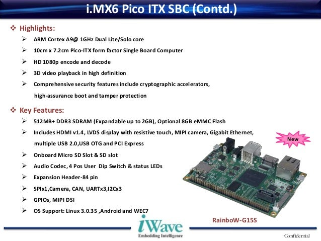 i MX6 Pico ITX Single Board Computer (SBC) offered by iWave