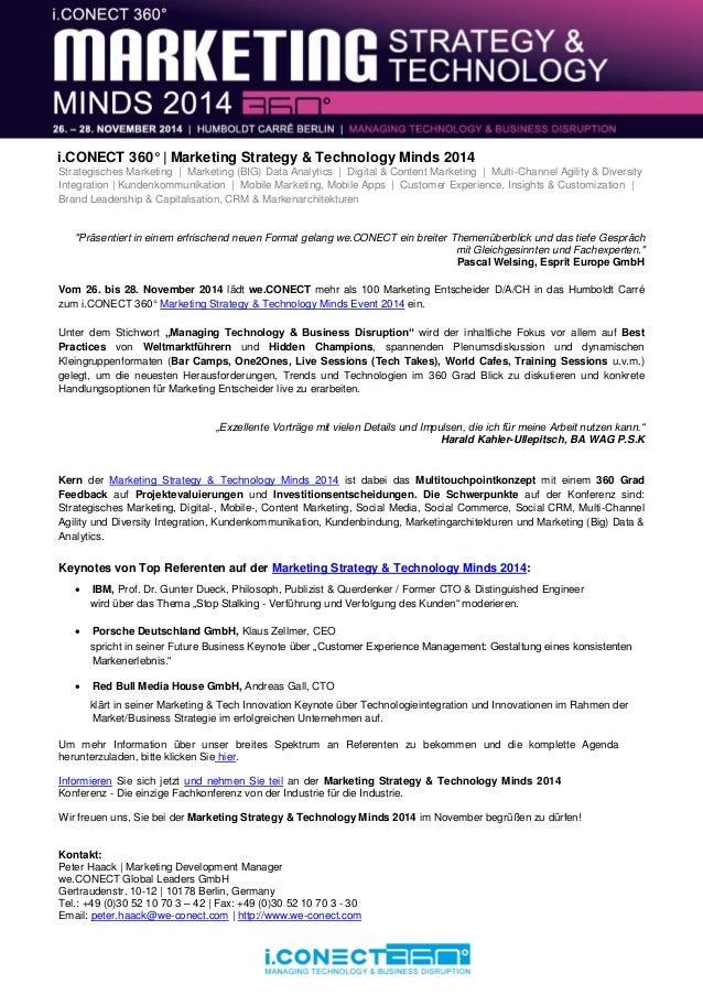 i.CONECT 360° | Marketing Strategy & Technology Minds 2014 Strategisches Marketing | Marketing (BIG) Data Analytics | Digi...