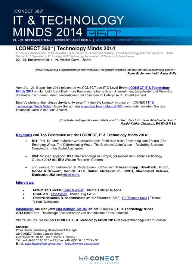 i.CONECT 360° | Technology Minds 2014 Enterprise Architecture | IT Infrastructure & Applications | Enterprise Mobility | C...
