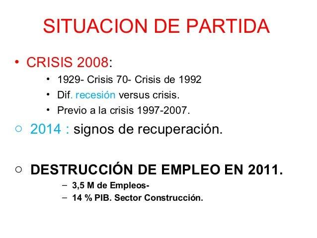 SITUACION DE PARTIDA • CRISIS 2008: • 1929- Crisis 70- Crisis de 1992 • Dif. recesión versus crisis. • Previo a la crisis ...