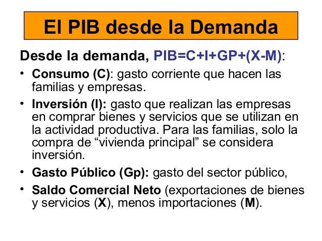 El PIB desde la Demanda Desde la demanda, PIB=C+I+GP+(X-M): • Consumo (C): gasto corriente que hacen las familias y empres...