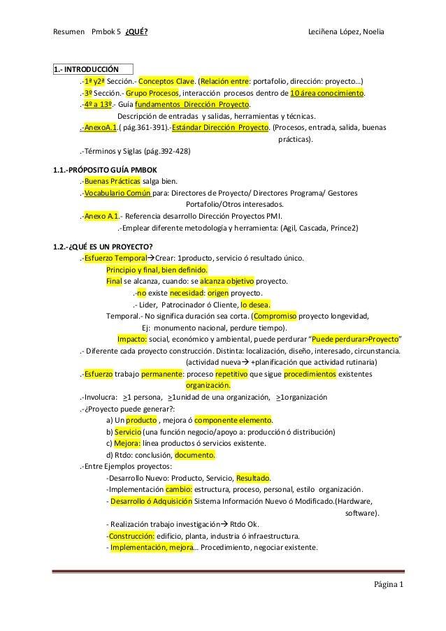 i pmbok 5 resumen