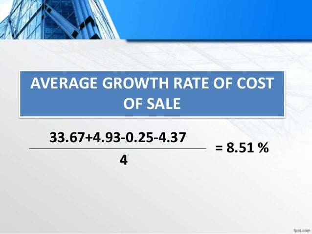 Forecast Cost of Sale Projection Year 2014 2015 2016 2017 2018 2019 Projection in Sale 20261 20261 + 20261 21985.21 + 2198...