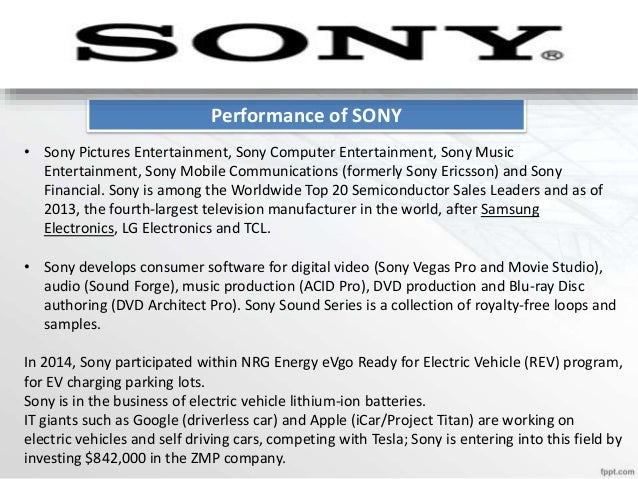 Sale Projection of SONY Year 2010 2011 2012 2013 2014 Sales 5902201 6304401 5526611 5691216 6800851 Annual growth rate 630...
