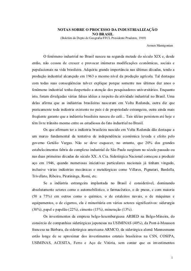 NOTAS SOBRE O PROCESSO DA INDUSTRIALIZAÇÃO                                NO BRASIL                   (Boletim do Depto de...