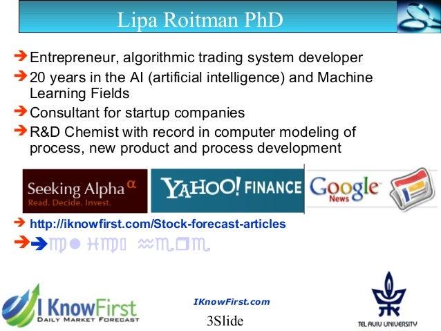 I Know First Presentation (February 2013) Slide 3