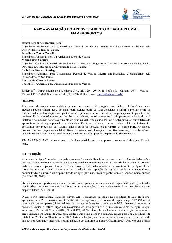 26º Congresso Brasileiro de Engenharia Sanitária e Ambiental          I-242 – AVALIAÇÃO DO APROVEITAMENTO DE ÁGUA PLUVIAL ...
