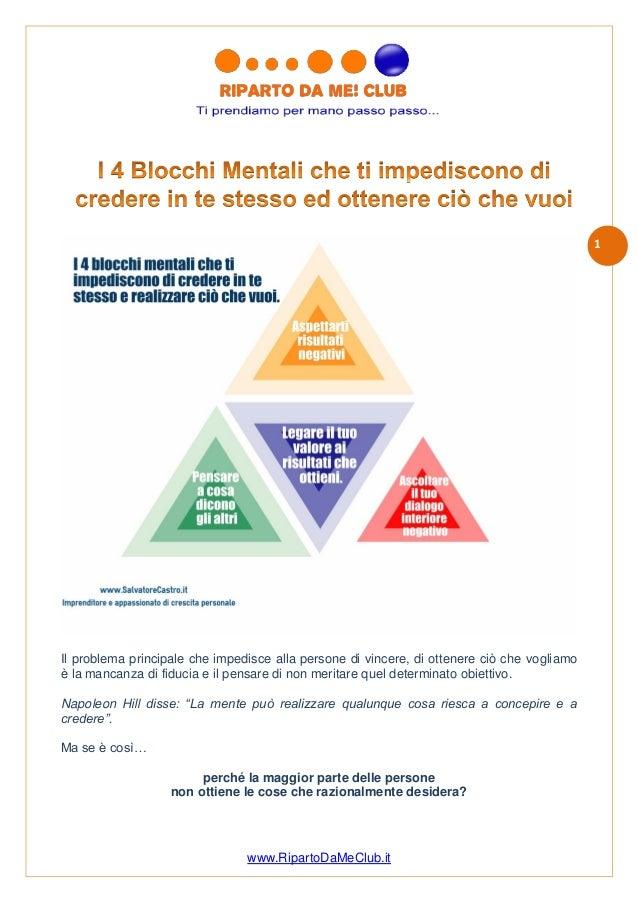 www.RipartoDaMeClub.it 1 Il problema principale che impedisce alla persone di vincere, di ottenere ciò che vogliamo è la m...
