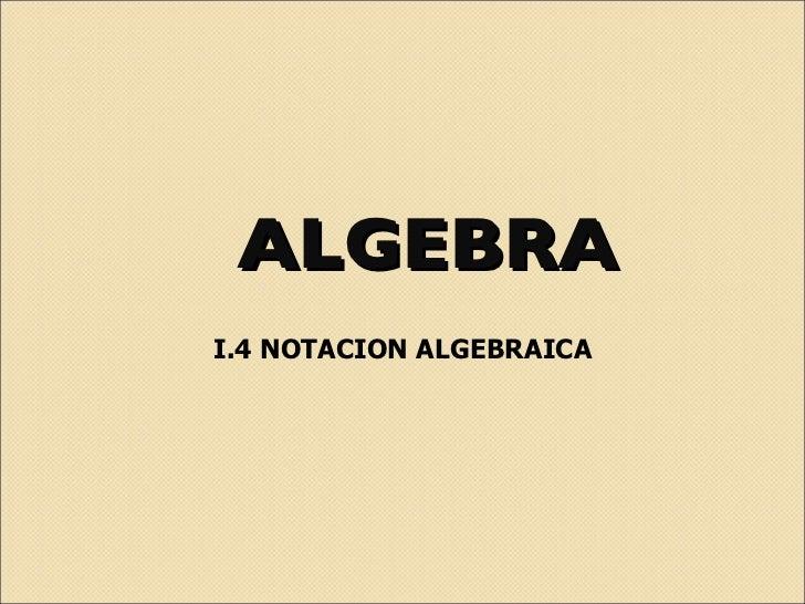 ALGEBRA I.4 NOTACION ALGEBRAICA