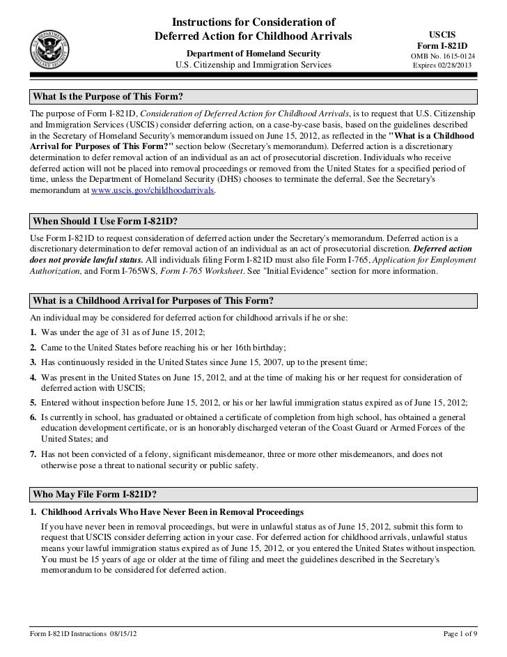 Instructions, Form I-821D, Consideration of Deferred Action for Child…