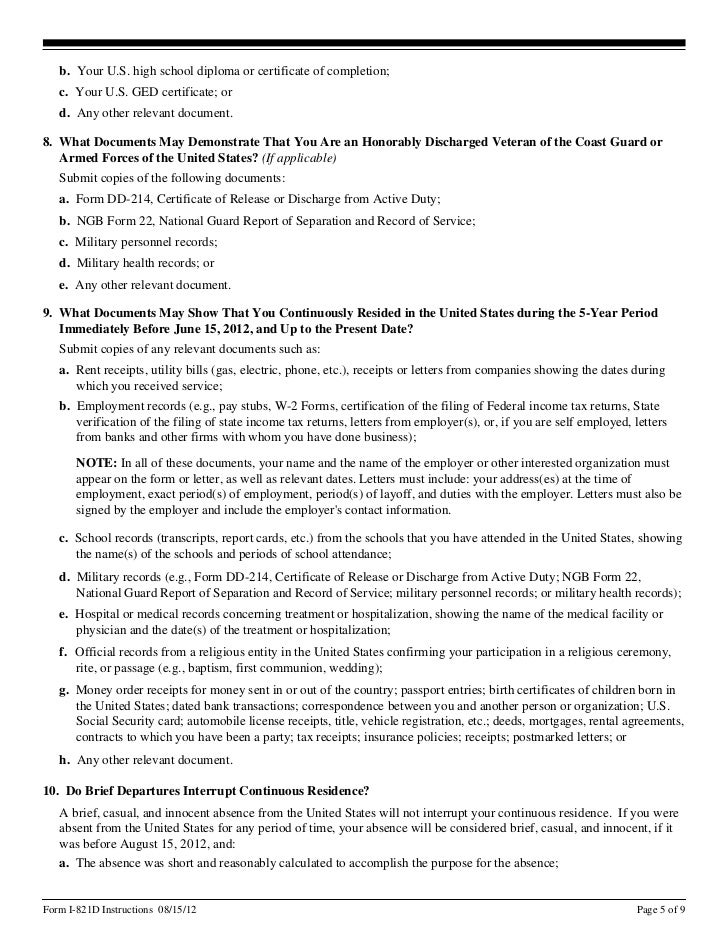 Instructions Form I 821d Consideration Of Deferred Action For Child