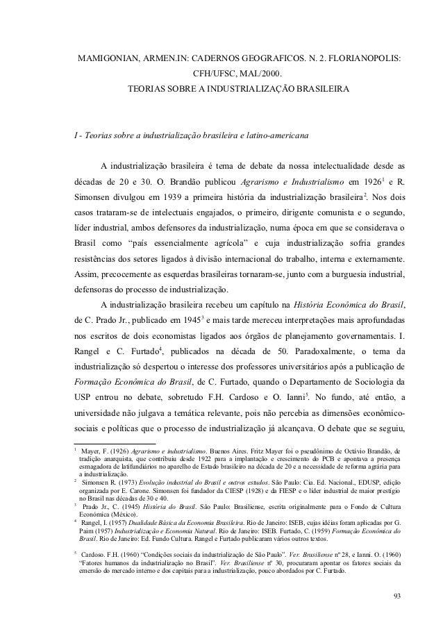 MAMIGONIAN, ARMEN.IN: CADERNOS GEOGRAFICOS. N. 2. FLORIANOPOLIS:                                             CFH/UFSC, MAI...