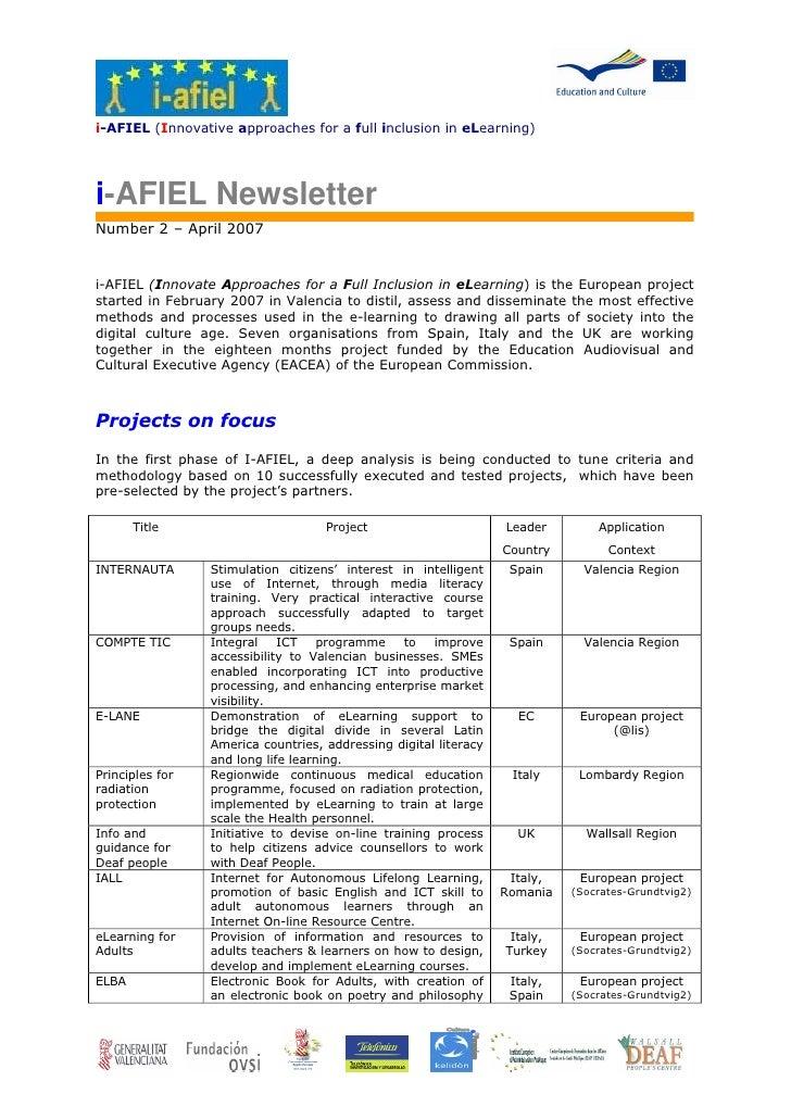 i-AFIEL (Innovative approaches for a full inclusion in eLearning)     i-AFIEL Newsletter Number 2 – April 2007   i-AFIEL (...