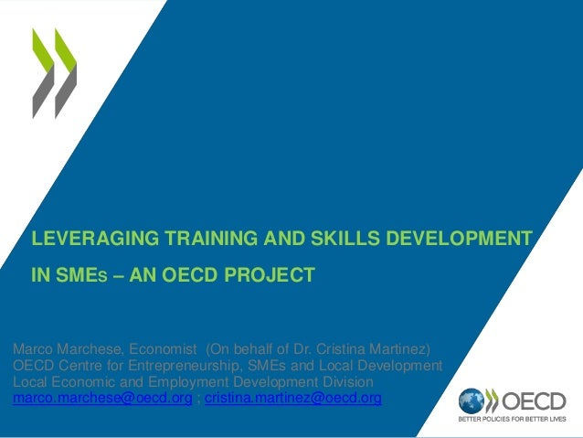 LEVERAGING TRAINING AND SKILLS DEVELOPMENT  IN SMES – AN OECD PROJECTMarco Marchese, Economist (On behalf of Dr. Cristina ...