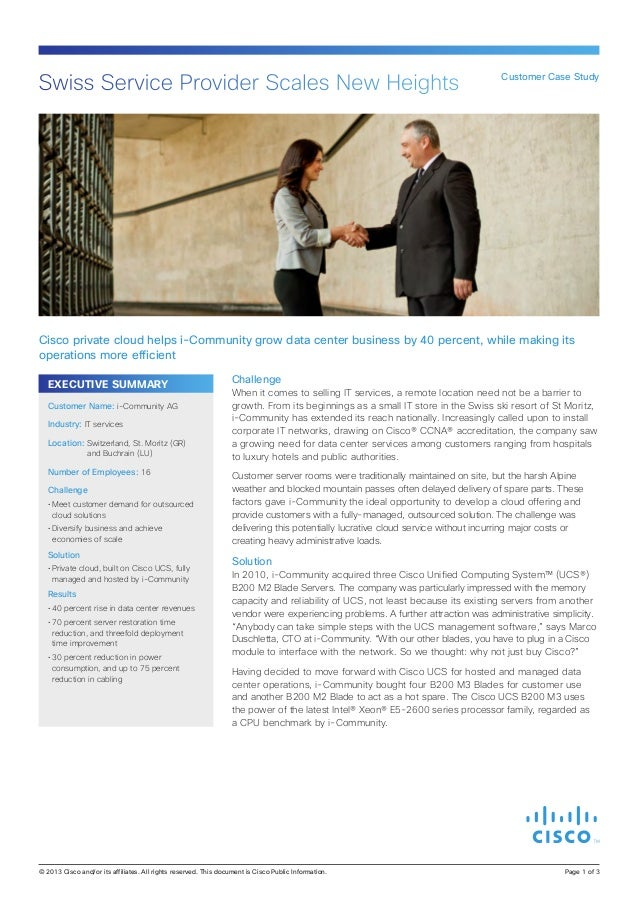 Swiss Service Provider Scales New Heights  Customer Case Study  Cisco private cloud helps i-Community grow data center bus...