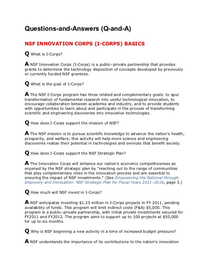 NSF I-Corps Frequently Asked Questions
