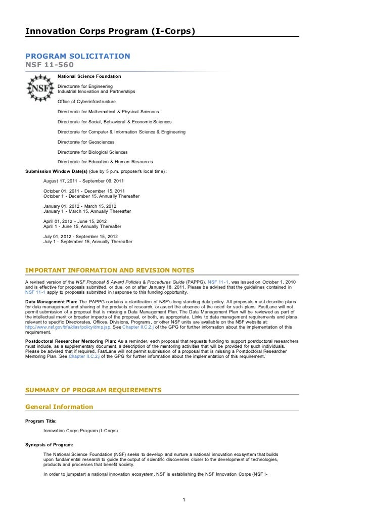 Nsf Letter Of Intent