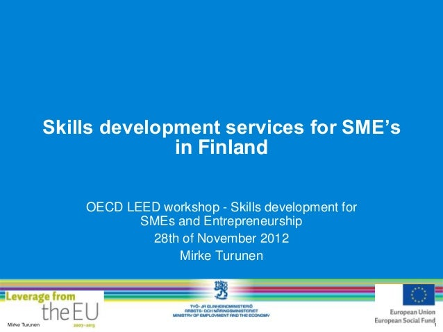 Skills development services for SME's                              in Finland                    OECD LEED workshop - Skil...