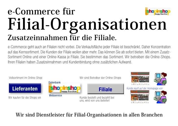 e-Commerce für Filial-Organisationen Zusatzeinnahmen für die Filiale. e-Commerce geht auch an Filialen nicht vorbei. Die V...