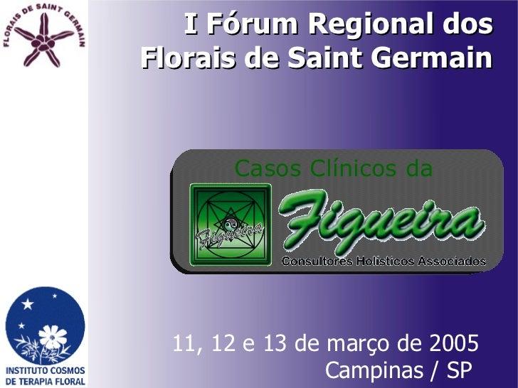 I Fórum Regional dos Florais de Saint Germain 11, 12 e 13 de março de 2005 Campinas / SP  Casos Clínicos da