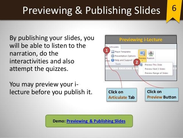 Creating an elearning presentation using Articulate Presenter
