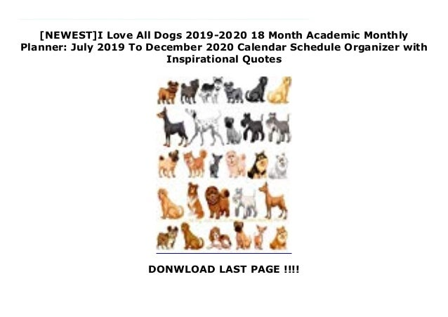 newest i love all dogs month academic monthly planner