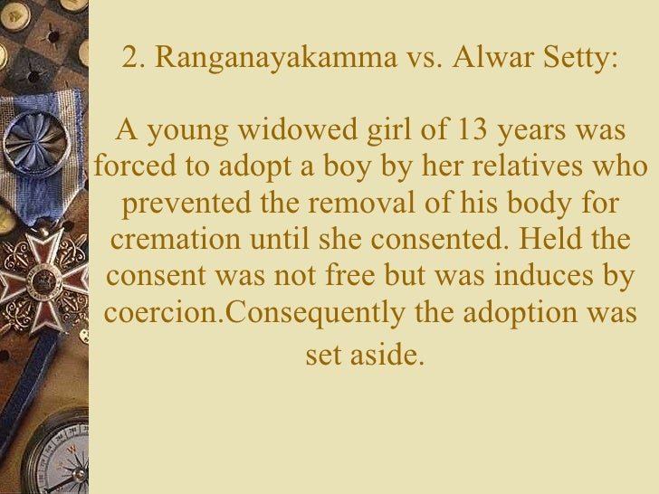 ranganayakamma vs alwar setty case law Free essays on ranganayakamma v s alwar chetty case for students use our papers to help you with yours 1 - 30.