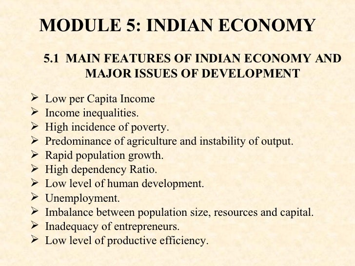 features of the indian economy