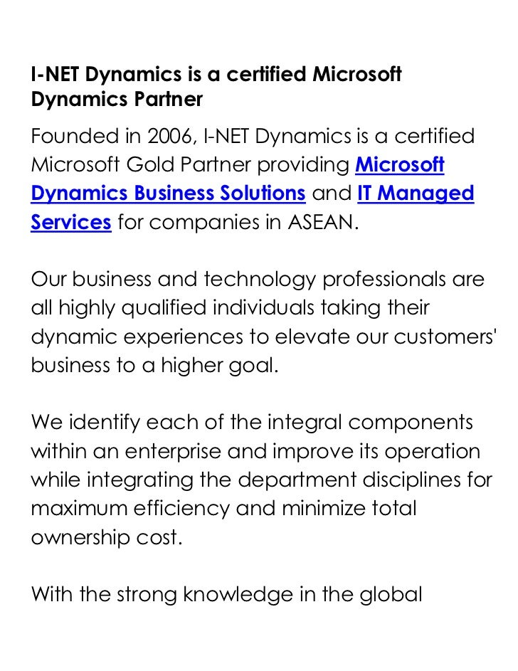 I-NET Dynamics is a certified Microsoft Dynamics Partner<br />Founded in 2006, I-NET Dynamics is a certified Microsoft Gol...