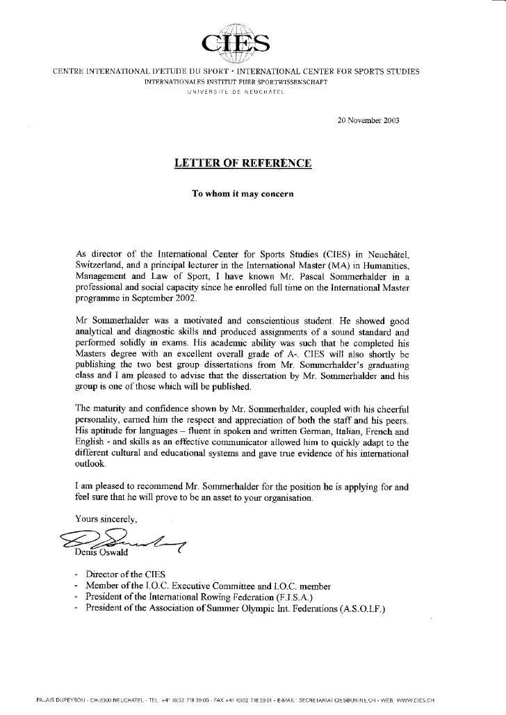 i o c  reference letter