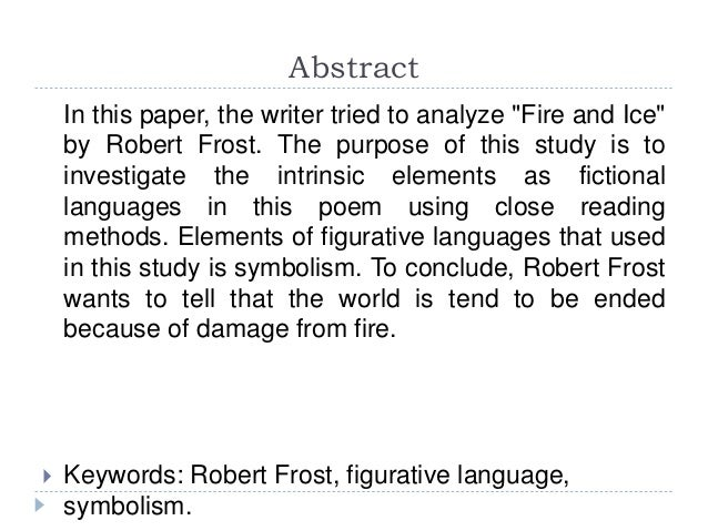 fire and ice robert frost analysis essay
