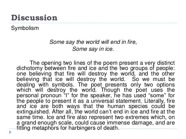 Fire and ice robert frost commentary