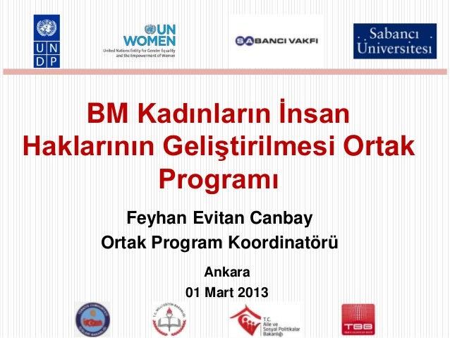 BM Kadınların İnsanHaklarının Geliştirilmesi Ortak          Programı         Feyhan Evitan Canbay      Ortak Program Koord...