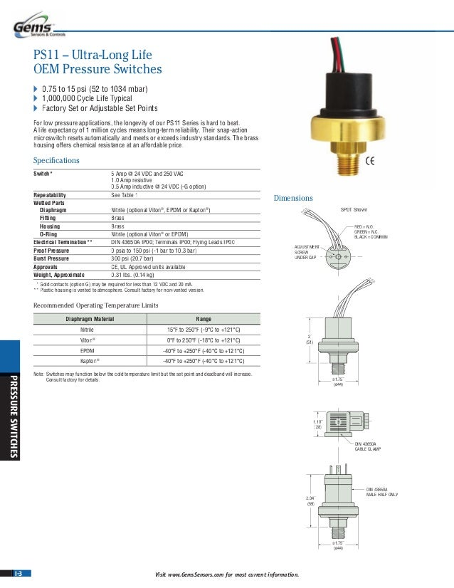 1//2 MNPT Conduit with 18 Flying Leads 10-30 psi Range Pack of 10 Gems PS72-10-4MGZ-B-EL18 Series PS72 General Purpose Mini Pressure Switch 1//4 BSPM Steel Fitting Circuit SPST N.C