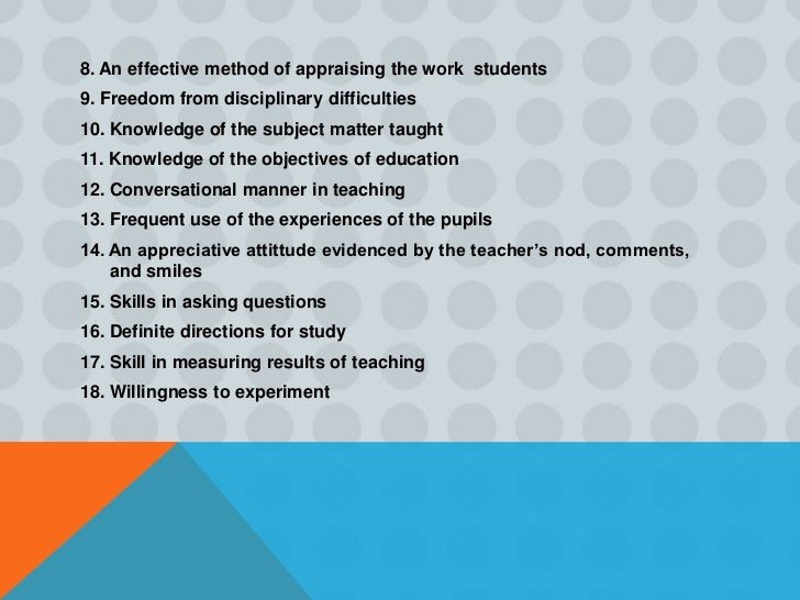 B. ROLES OF TEACHERSThe six areas of activity of the teacher can be summarized as:1. The teacher as information provider2....