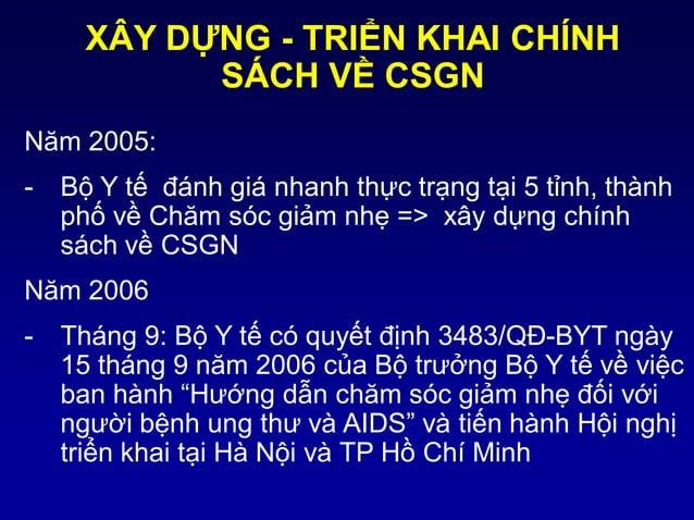 Năm 2005: - Bộ Y tế đánh giá nhanh thực trạng tại 5 tỉnh, thành phố về Chăm sóc giảm nhẹ => xây dựng chính sách về CSGN Nă...