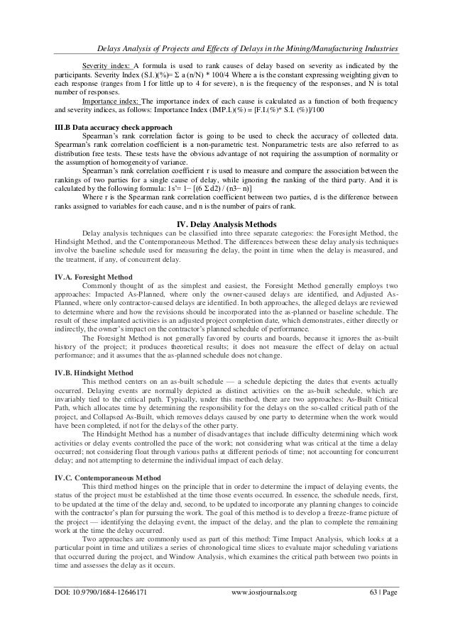 Delay Analysis of Projects and Effects of Delays in the Mining/Manufa…