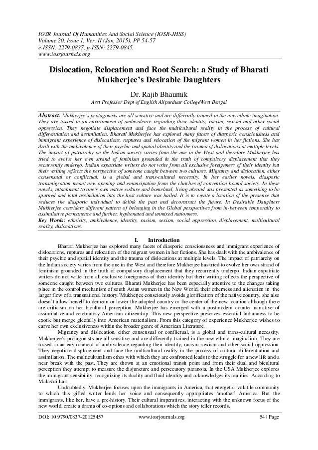 identity crisis in desirable daughters by bharati mukherjee Subarnalata by debi,  ecology and identity crisis in rohinton mistry's fiction/c  problems of identity a study of bharati mukherjee's desirable daughters/sp.