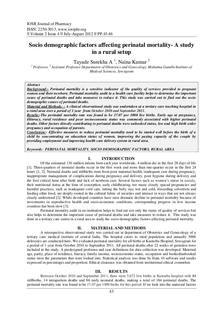 IOSR Journal of PharmacyISSN: 2250-3013, www.iosrphr.org‖‖ Volume 2 Issue 4 ‖‖ July-August 2012 ‖‖ PP.43-46 Socio demograp...