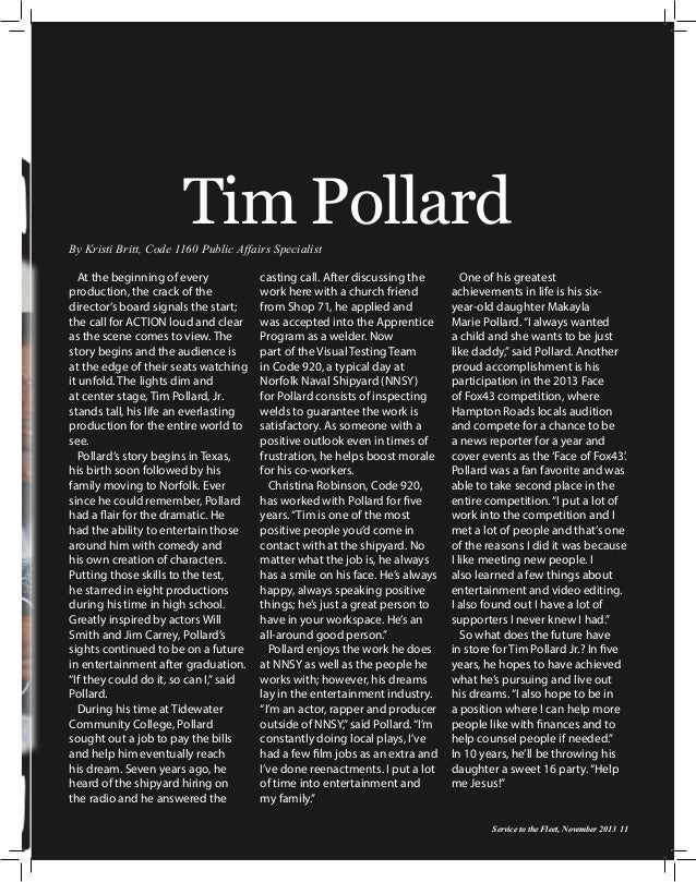 Tim Pollard By Kristi Britt, Code 1160 Public Affairs Specialist At the beginning of every production, the crack of the di...