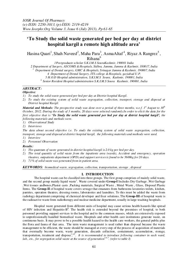 IOSR Journal Of Pharmacy (e)-ISSN: 2250-3013, (p)-ISSN: 2319-4219 Www.Iosrphr.Org Volume 3, Issue 6 (July 2013), Pp 61-65 ...