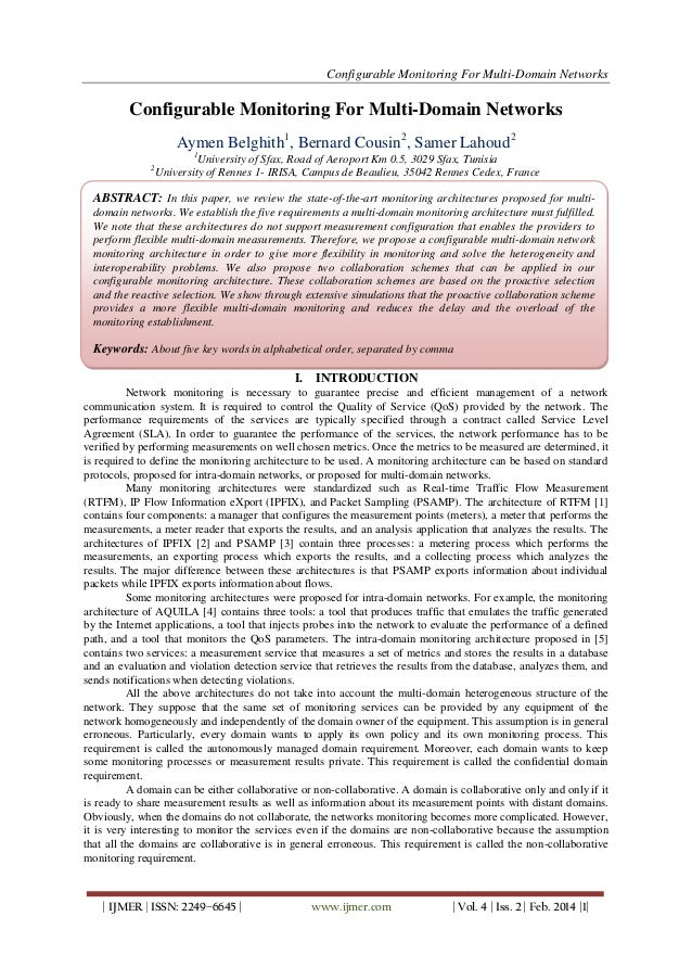 Configurable Monitoring For Multi-Domain Networks | IJMER | ISSN: 2249–6645 | www.ijmer.com | Vol. 4 | Iss. 2 | Feb. 2014 ...